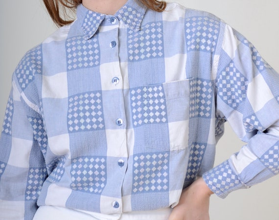 90s Double Checkered Button Up / Med - Large