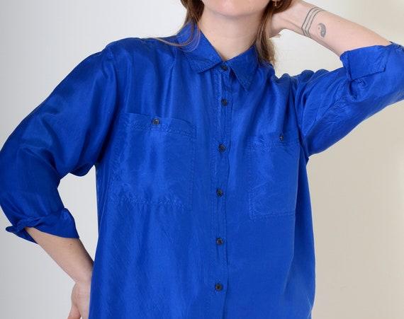 Cobalt Silk Button Up