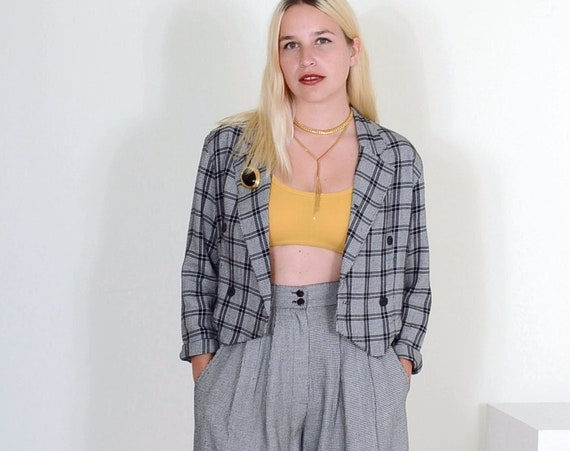 """80s Plaid Houndstooth Short Set / size Small / 27"""" waist"""