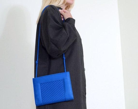 80s Satin Cobalt Shoulder Bag