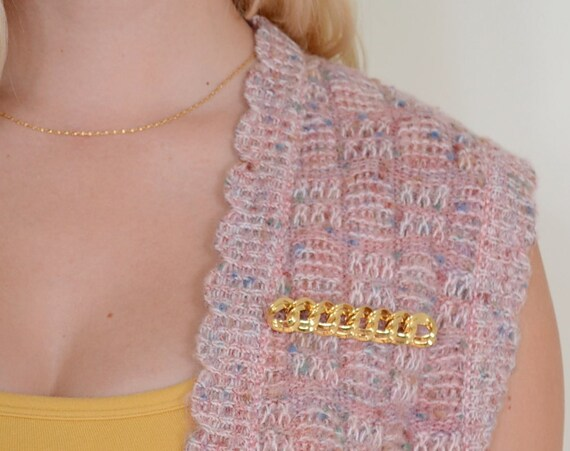 Gold Chain Link Brooch