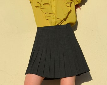 "Pleated Charcoal Wrap Skirt / by Bebe / 28"" waist"