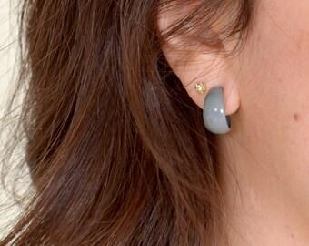Small Grey Hoop Earrings