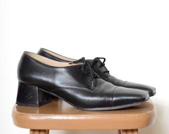 70s Square Toe Oxfords by Salvatore Ferragamo / Size 8.5