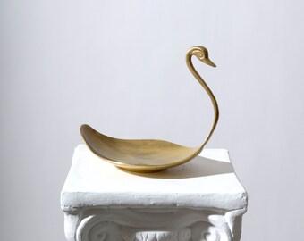 "Brass Swan Trinket Dish / 7"" height"