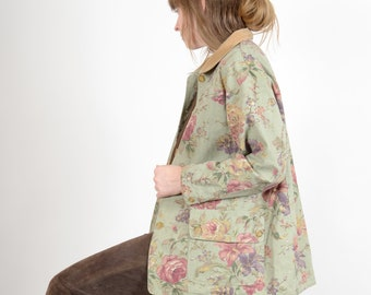 1990s Floral Print Cotton Chore Coat / by Coldwater Creek / medium - large