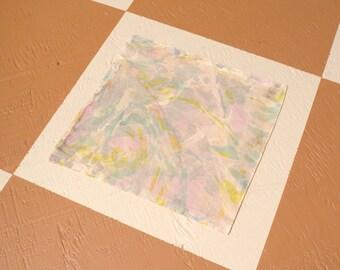 "Pastel Swirl Marble Dyed Cotton Handkerchief / 12"" x 12"""