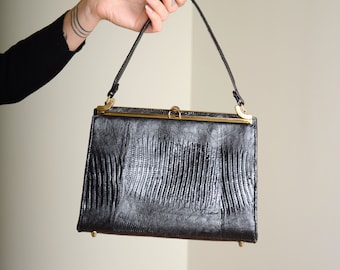 Crocodile Top Handle Box Bag
