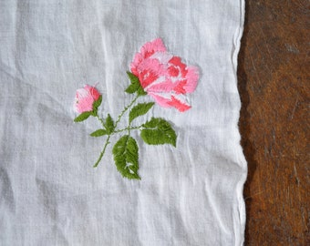 "Rose Embroidered Hanky / Soft White Handkerchief with Delicate Pink Roses / Hand Embroidered Vintage Hankie / 12"" x 12"" square"