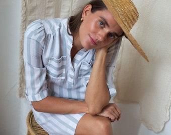 80s Striped Grey Puff Sleeve Shirtdress
