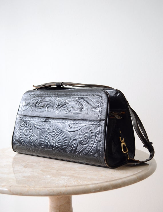 50s Tooled Leather Bag / Long Box Bag with Adjusta