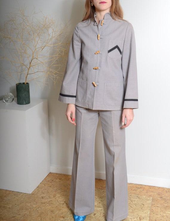 1970s Roncelli Pant Suit / Grey Cotton Two Piece /