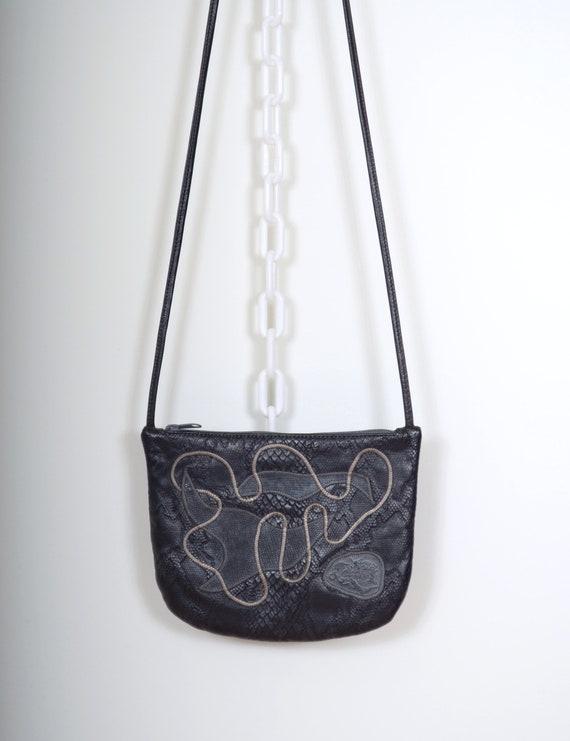80s Black Leather Crossbody Purse by Carlos Falchi