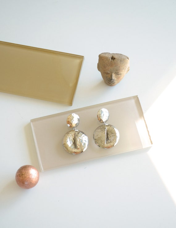 Hammered Silver Statement Earrings
