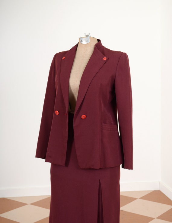 70s Burgundy Skirt Suit / 40s Style Blazer and Ski