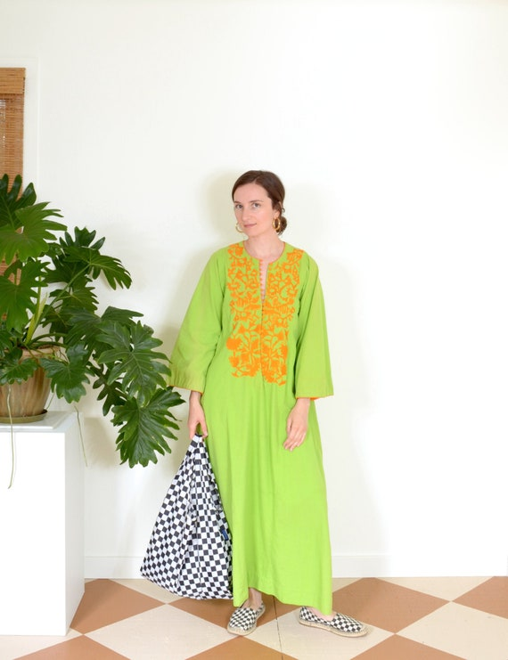 70s Electric Green Embroidered Cotton Kaftan Dress