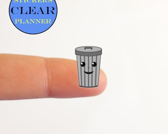 CLEAR Trash Stickers CLEAR Garbage Stickers Kawaii Stickers Kawaii Planner Clear Trash Can Planner Trash Day Transparent Trash Planner (i18A