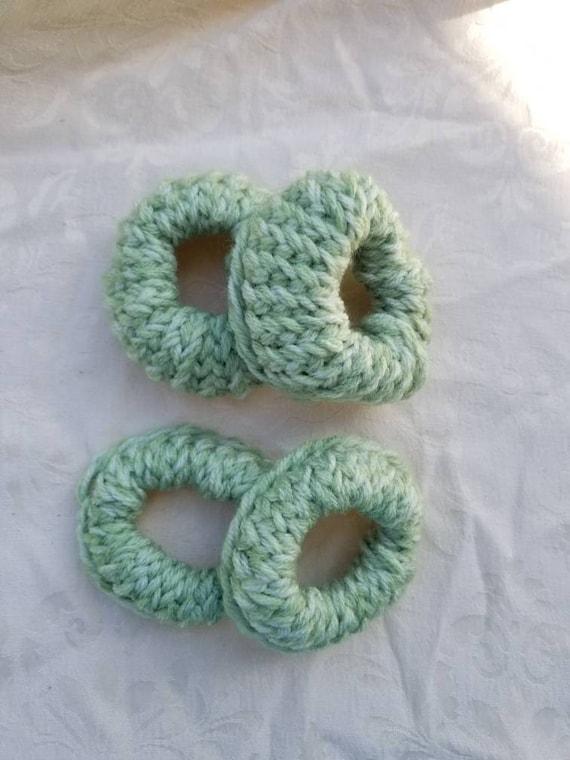 Scrunchie polyester knit seafoam green handmade