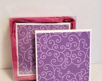 Purple and swirls ceramic coasters, set of 2
