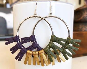 Mardi Gras Carnival Suede Earrings; Purple, Green, and Gold Earrings