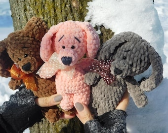Toy Knitted toy Crochet Toy  3 pcs. Soft toy Gift to the child Your favorite toy Three knitted toys Three plush toys Handmade New friends