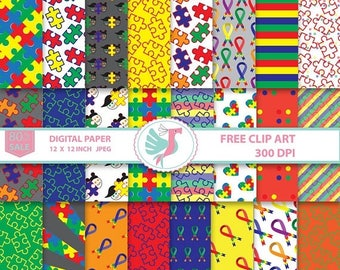 ON SALE Autism Awareness Ribbon Clipart, Autistic Cancer Digital Paper Pack,  Autism Scrapbooking Paper Card Making Autism Printable SVG Png