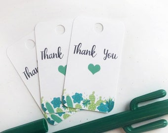Custom Succulent Thank You Gift Tags Favour Favor Tags Labels Handmade Wedding Shower Birthday Party Teacher Gift Tags Succulents Plantmom
