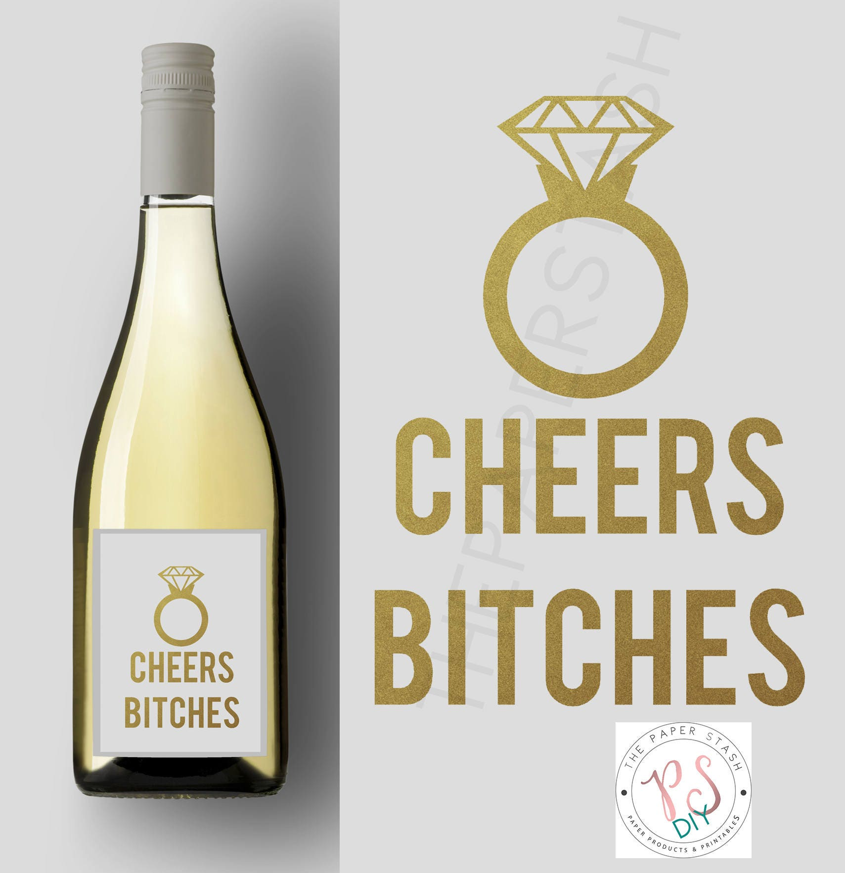 Printable Wine Label Cheers Bitches Stickers Labels Diy Etsy