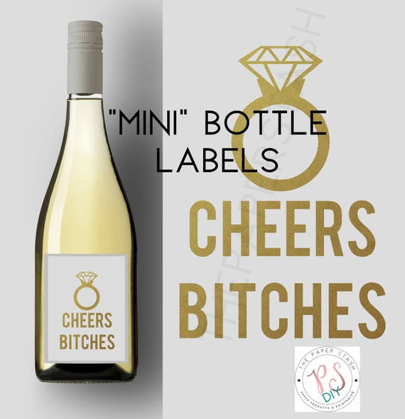 Printable Labels Stickers Mini Liquor Cheers Bitches Mini Bottles Instant Miniatures Weddings Bachelorette Bridal Shower Diy