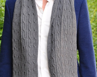 mens knit scarf, merino & cashmere scarf, Gray Wool Scarf For Men, men's Scarf, Hand Knit Scarf, Men's Accessories READY TO SHIP