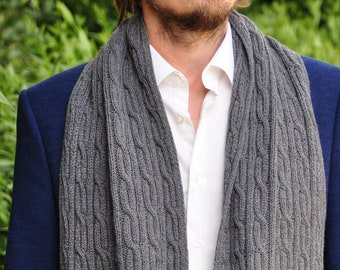 mens knit scarf, merino & cashmere scarf, Gray Wool Scarf For Men, men's Scarf, Hand Knit Scarf, Men's Accessories