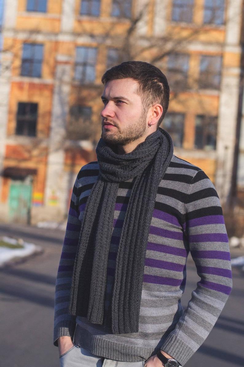 100% merino wool Grey Wool Long Scarf For Men. Men's image 1