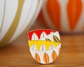 Vintage Pin Club - Cathrine Holm Scandi Orange, Green, Yellow Bowls Enamel Pin Badge