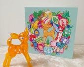 Vintage Bambi deer bauble wreath Christmas card