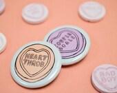 Heart Throb / Couple Goals Retro Vintage Bride Wedding Love Hearts Badges