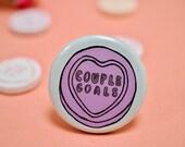 Couple Goals Retro Vintage Bride Wedding Love Hearts Badge