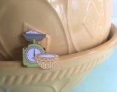 Vintage Pin Club - Baking Scales & Mixing Bowl Enamel Pin Badge