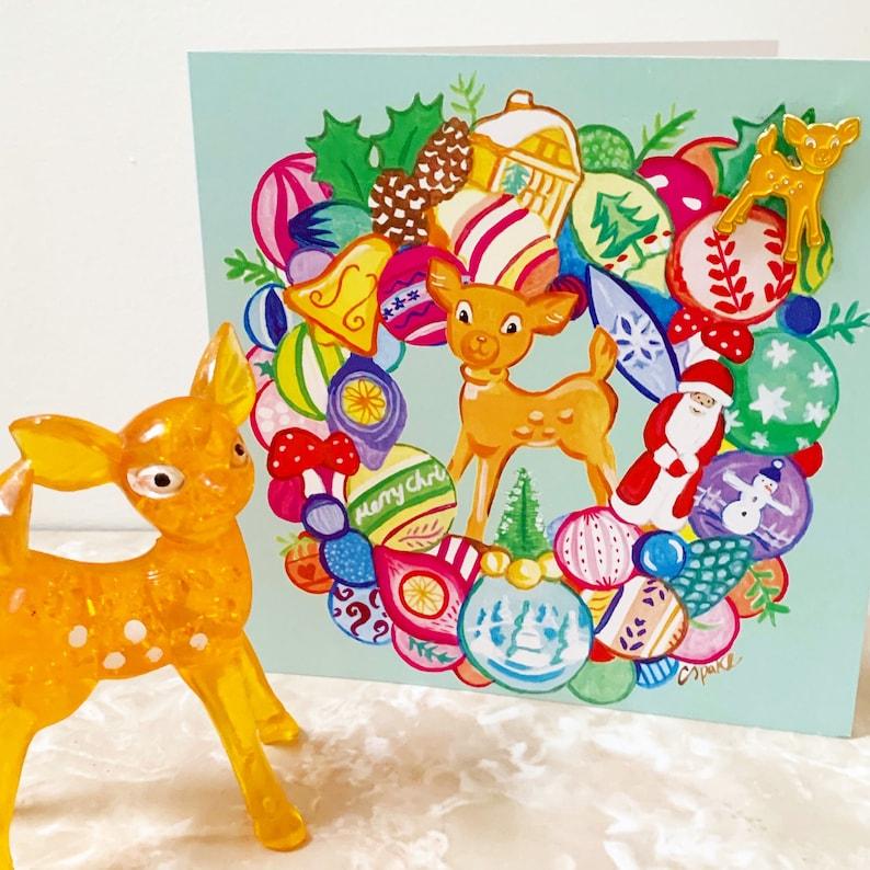 Vintage Bambi deer bauble wreath Christmas card & enamel pin image 0