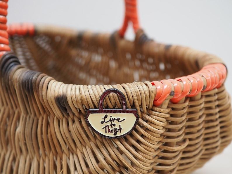 Vintage Pin Club  Live to Thrift  Basket  Enamel Pin Badge image 0