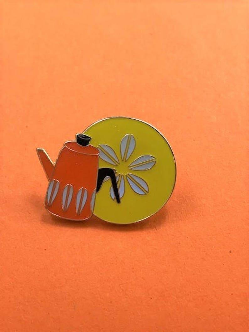 Vintage Pin Club  CathrineHolm Scandi Orange Lotus Kettle image 0