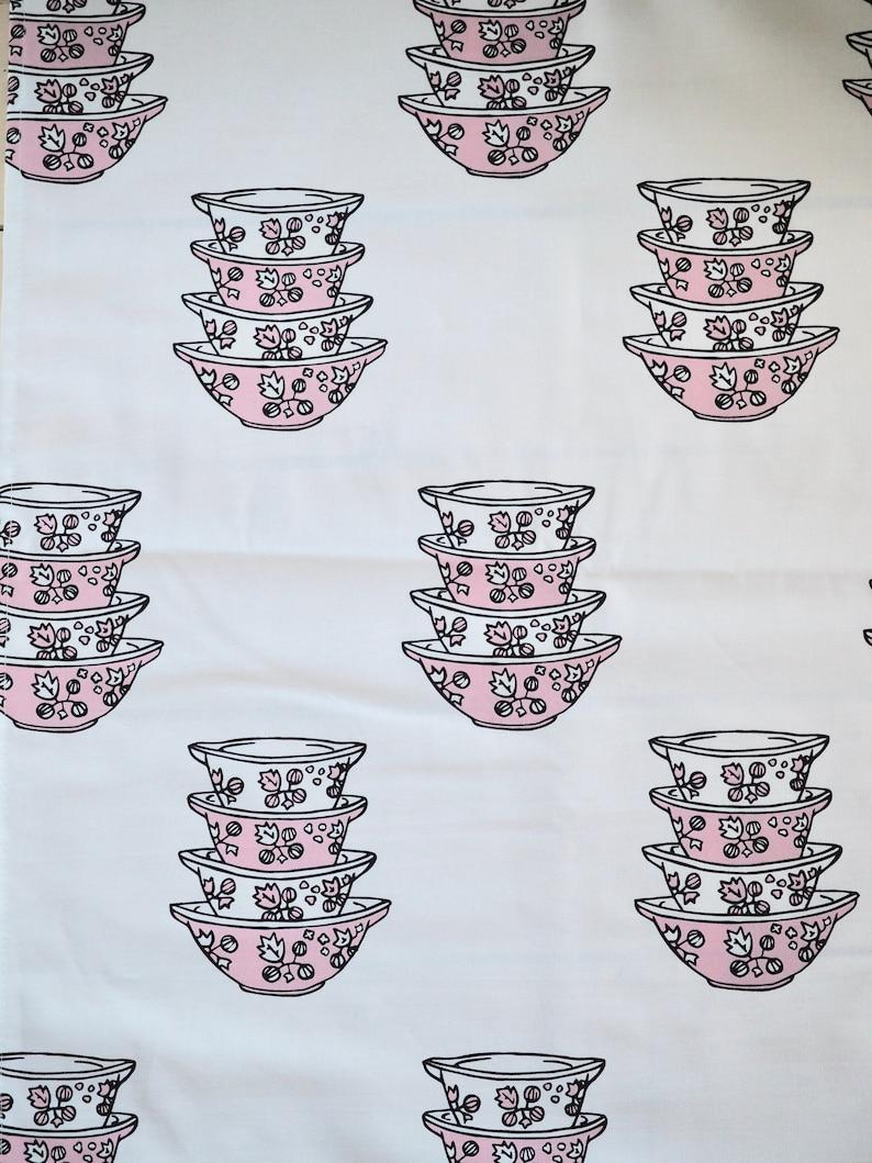 Vintage Pink Pyrex Gooseberry Cinderella 100% cotton tea towel image 0