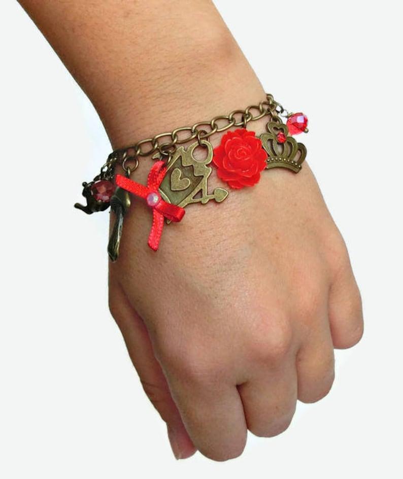 Queen of hearts bracelet Alice in wonderland inspired