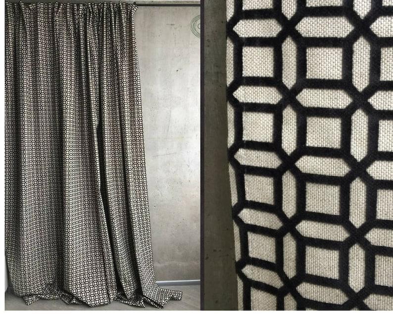 Blackout window curtains black white panel cotton geometric | Etsy