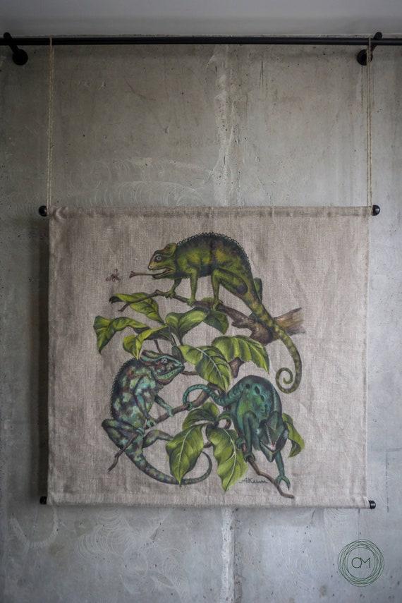 linen wall art Chameleon art wall hanging reptile home decor