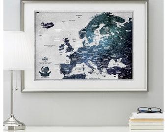 Europe map | Etsy
