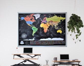 Scratch Map In Frame Etsy - Scratch map frame