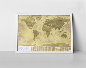 Handmade scratch off world map etsy scratch off world map with your personal travel history xxl premium quality vintage map marked lane in us states and biggest countries gumiabroncs Image collections