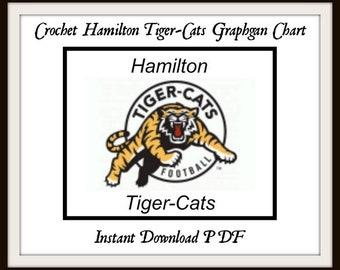 Crochet Hamilton Tiger-Cats Graphgan Chart football sports crochet  cross  stitch embroidery knitting needlepoint football blanket pattern 9548da60b
