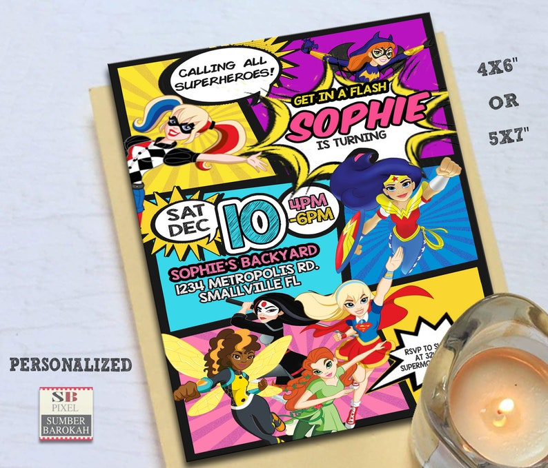 Superheroes Supergirl Birthday Invitation