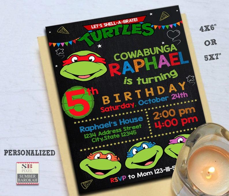 Ninja Turtles Turtle Birthday Invitation Party Invite